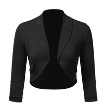 Women Plus Size Solid Bolero Shrug Open Front Cropped Mini Office Work Cardigan