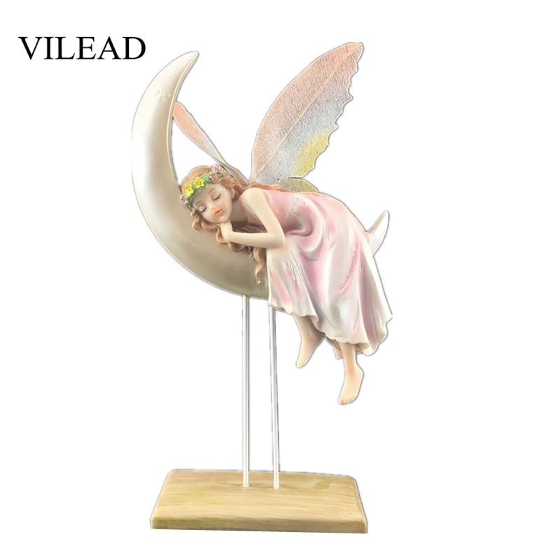 VILEAD 32cm Resin Flower Fairy Beauty Angel Figurines European Home Accessories Creative Girl Children Birthday Wedding Gifts