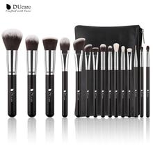DUcare 15pcs Black Makeup Brushes Set Powder Foundation Eyeshadow Professional Synthetic Goat Hair Make Up Brush Kit with Bag
