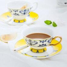 Высококачественный костяной фарфор чайная чашка с блюдцем синий и белый Пномпень керамическая кофейная чашка послеобеденный чай чашка с ложкой