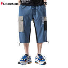 Summer New Hip-Hop Men #8217 s Cargo Pants 2020 High-Quality Streetwear Calf Length Pants Loose Pocket Printed Casual Pants Men KX763 cheap FANGHUASITE Flat COTTON Pockets REGULAR 2 - 5 Full Length Midweight Broadcloth Calf-Length Pants Drawstring