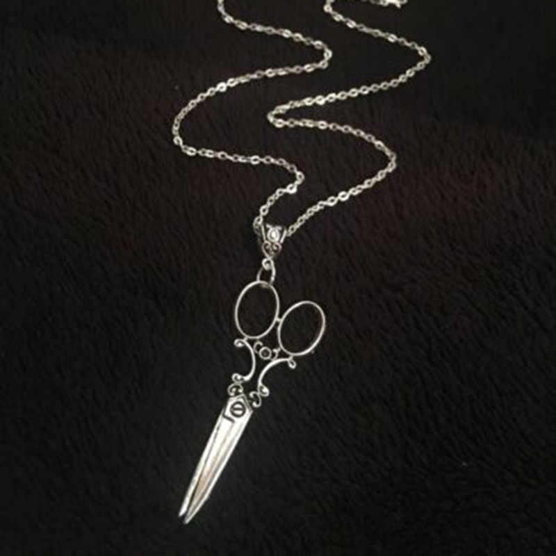 대형 가위 목걸이 펜던트 여성 선물 체인 고딕 Steampunk 고스 목걸이 Victorian Hairdresser Artist Charms Jewelry