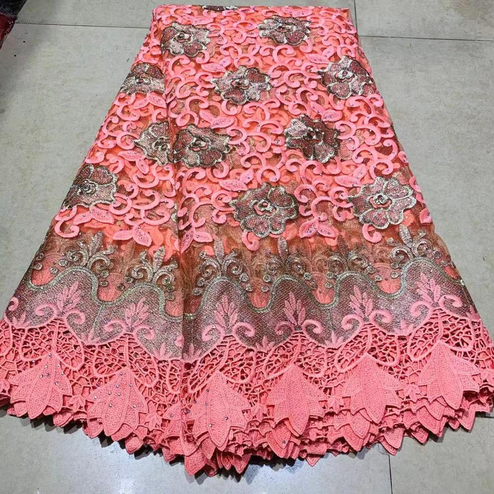 Beaded African Nigerian Lace Fabrics For Wedding With Rhinestones Stones Tulle French Swiss Voile Lace Fabrics For Sewing Dress