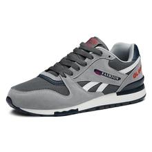Мужские кроссовки из натуральной кожи, дышащая повседневная обувь, спортивная обувь, уличная прогулочная светильник кая резиновая подошва на шнуровке для бега