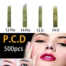 500 pces pcd 12 pinos lamina nano lâmina premium 12 duro 0.25mm maquiagem permanente microblading agulha para tobori caneta
