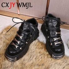 Baskets de Style Punk britannique pour femmes, chaussures à plateforme en PU, semelle épaisse, chaussures d'hiver pour dames, décor en métal