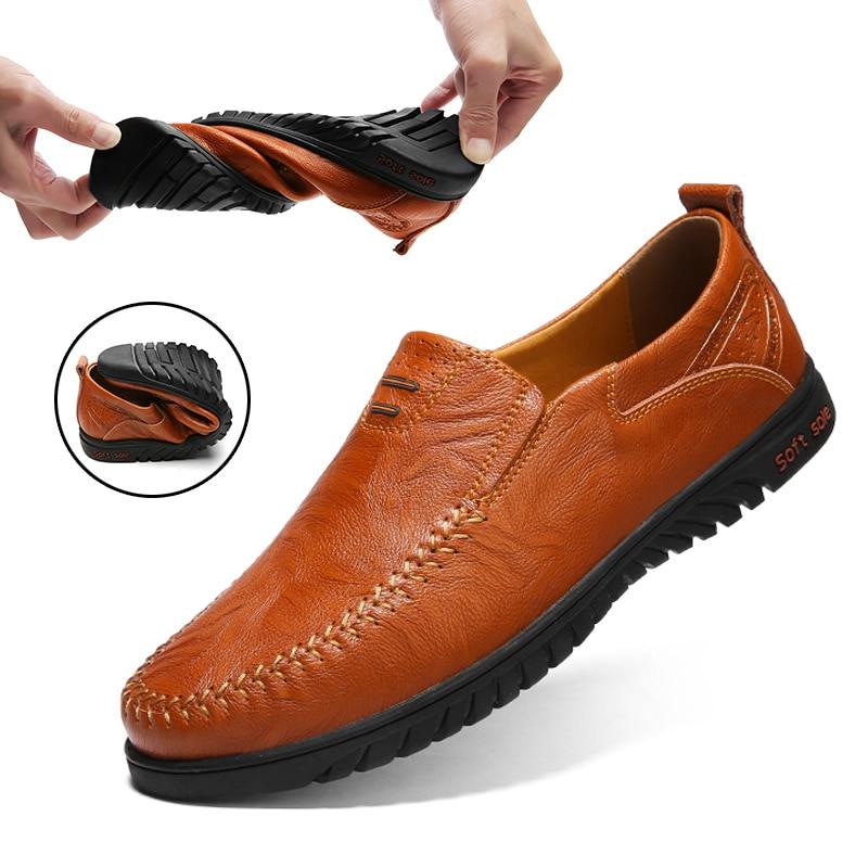 DEKARB Men Genuine Leather Casual Shoes Loafers Men Shoes Quality Comfort Soft Shoes Men Flats Hot Sale Moccasins Big Size 37~47
