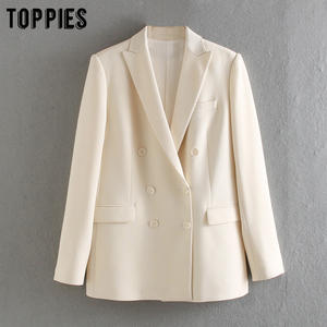 Toppies White Blazer Jackets Formal-Suit Double-Breasted Women Ladies Summer