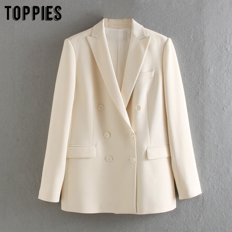 Toppies 2020 White Blazer For Women Summer Blazer Double Breasted Jackets Ladies Formal  Suit Jackets
