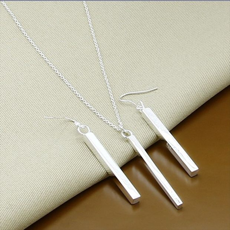 2019 New Trendy 925 Sterling Silver Fashion Simple Square Necklace Earrings Jewelry Sets Christmas Gift