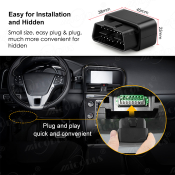 OBD GPS Tracker Car Tracker Micodus MV33 Realtime Tracking Voice Monitor Mini GPS Locator Shock&Plug-out Alarm Geofence Free APP 2