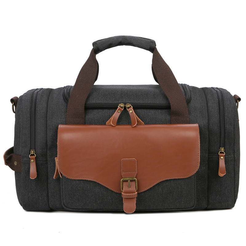 Men Large Capacity Weekend Bag Canvas Multifunction Leather Bags Carry on Luggage Bag Tote Utility Travel Bag Dropshipping