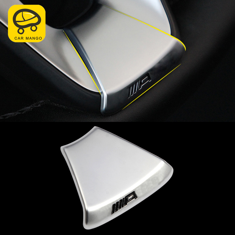 CarManGo For Mercedes Benz GLE W166 Coupe C292 2016-2018 Auto Car Steering Wheel Cover Trim Frame Sticker Interior Accessories