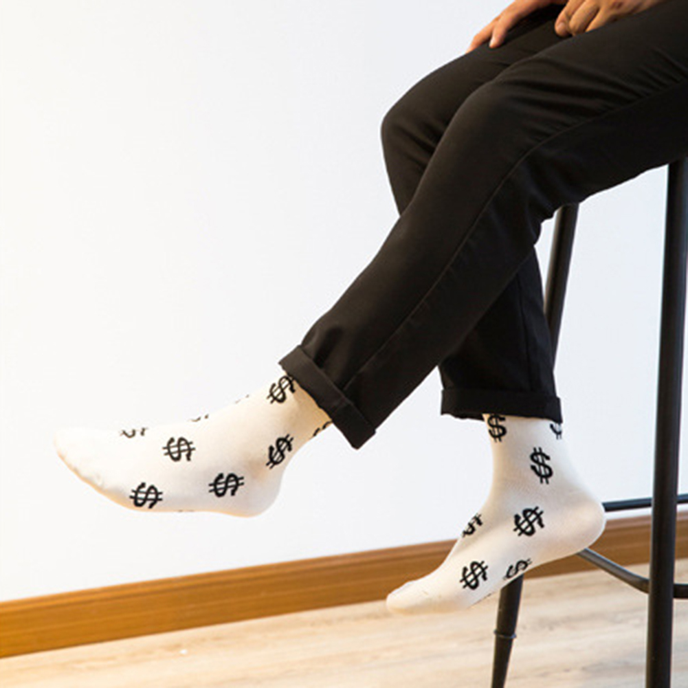 Fashion Spring Autumn Men Boy Socks Dollar Symbol Printed Comfortable Breathable Absorb Sweat Anti-slip Middle Long Sock