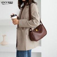 VENOF Fashion Genuine Leather Shoulder Bag For Women Solid Female Messenger Bags Roomy Crossbody Bags Luxury Bags For Women 2019
