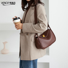 VENOF Fashion Genuine Leather Shoulder Bag For Women Solid Female Messenger