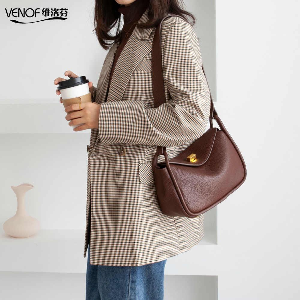 VENOF moda hakiki deri omuz çantaları kadınlar için katı kadın askılı çanta geniş crossbody çanta lüks kadınlar için çanta 2019