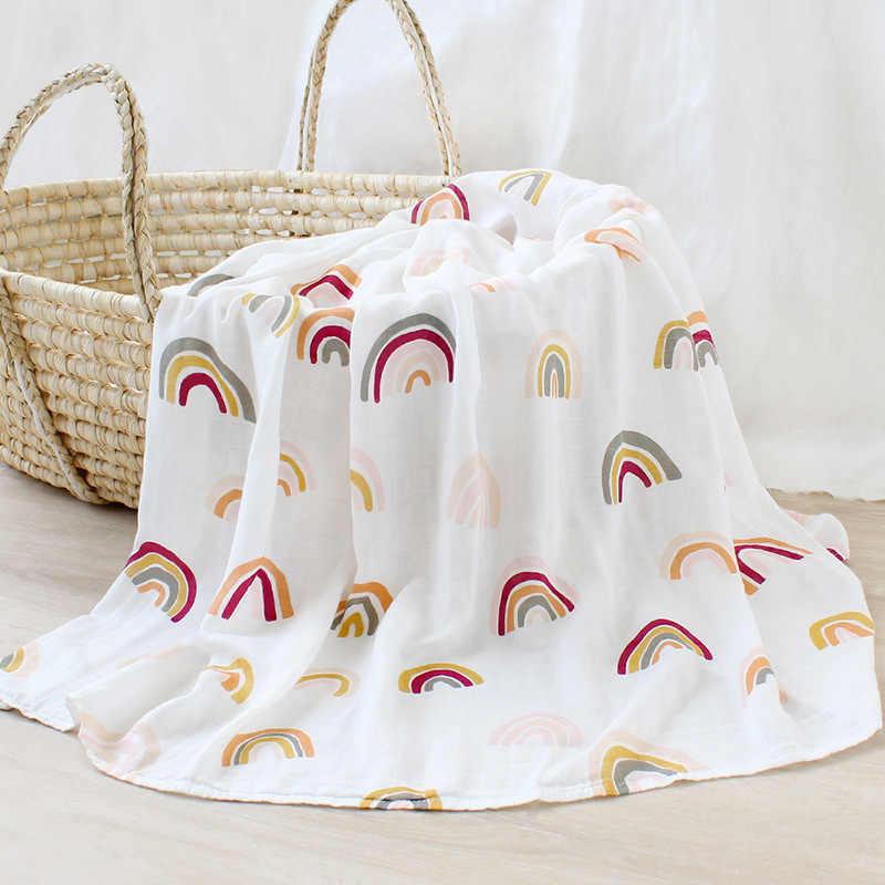 Bambusowe bawełniane miękkie dziecko Swaddle muślinowy kocyk Rainbow niemowlę pościel dla dzieci muślin owijka dla niemowląt noworodka koce ręcznik kąpielowy z merli