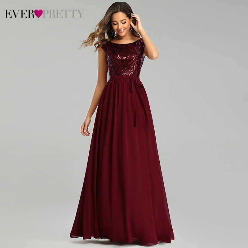 Sparkle Burgundy Evening Dresses Ever Pretty Sequined A-Line O-Neck Sleeveless Sashes Elegant Formal Dresses For Party Vestido