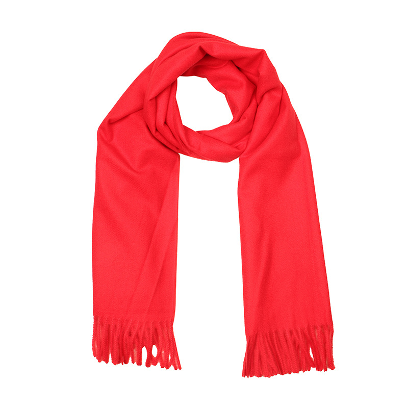 Faux Cashmere Monochrome Winter Style Mirror Tassels For Both Men And Women Classic Style Scarf