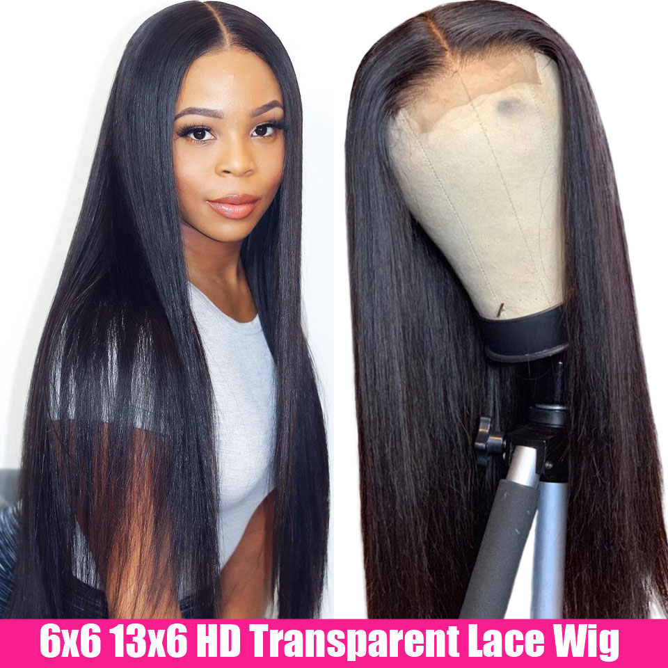 HD Transparent Lace Frontal Wigs 6x6 Lace Closure Wig Brazilian Straight Lace Front Human Hair Wigs 150 Remy 13x6 Lace Front Wig