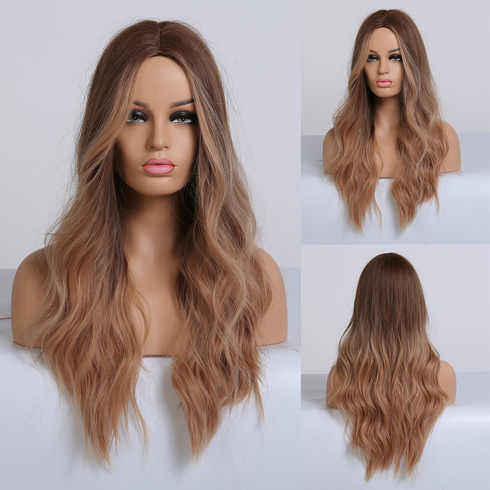 Image 4 - EASIHAIR Long Dark Brown Synthetic Wigs for Women Black to Brown Ombre Color Middle Part Wavy Cosplay Wigs Heat ResistantSynthetic None-Lace  Wigs   -
