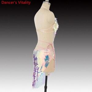 Image 5 - Mulheres dança do ventre 2 Tipos de roupas Que Bling Bling Do Terno Dança Bra + Saia 2Pcs Dança Latina Terno Roupas Da Moda S,M,L