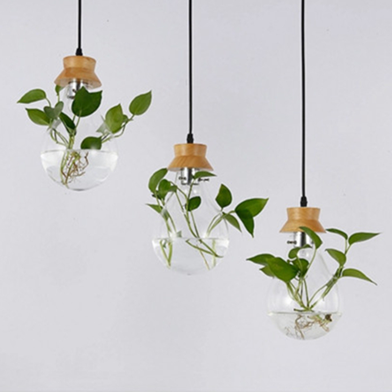 Modern Pastoral Design Plant Chandelier Simple Dining Living Room Study Cafe Art Decor Glass Hanging Lamp