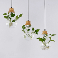 Modern Pastoral Design Plant chandelier simple dining living room study cafe art decor glass hanging lamp