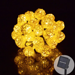 Corda de luz led 6 m 30 led guirlanda solar luzes da corda bola rattan fada luz da corda para o feriado natal ao ar livre decoração