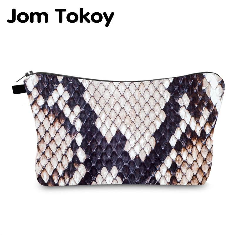 Jom Tokoy Cosmetic Bag Printing Serpentine Personalised Makeup Bags Organizer Bag Women Beauty Bag HZB996