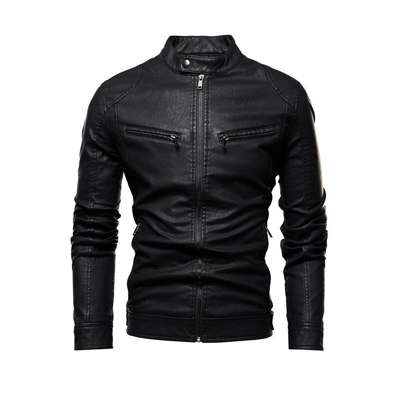 Men Autumn Motorcycle Causal Leather Jacket Coat Mens Outfit Fashion Biker Zipper PU Leather Jackets Man Slim Collar Overcoat
