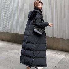 Korean Winter Womens Warm Jacket Coat Long Thick White Duck Down Woman Hooded and Parka Puffer