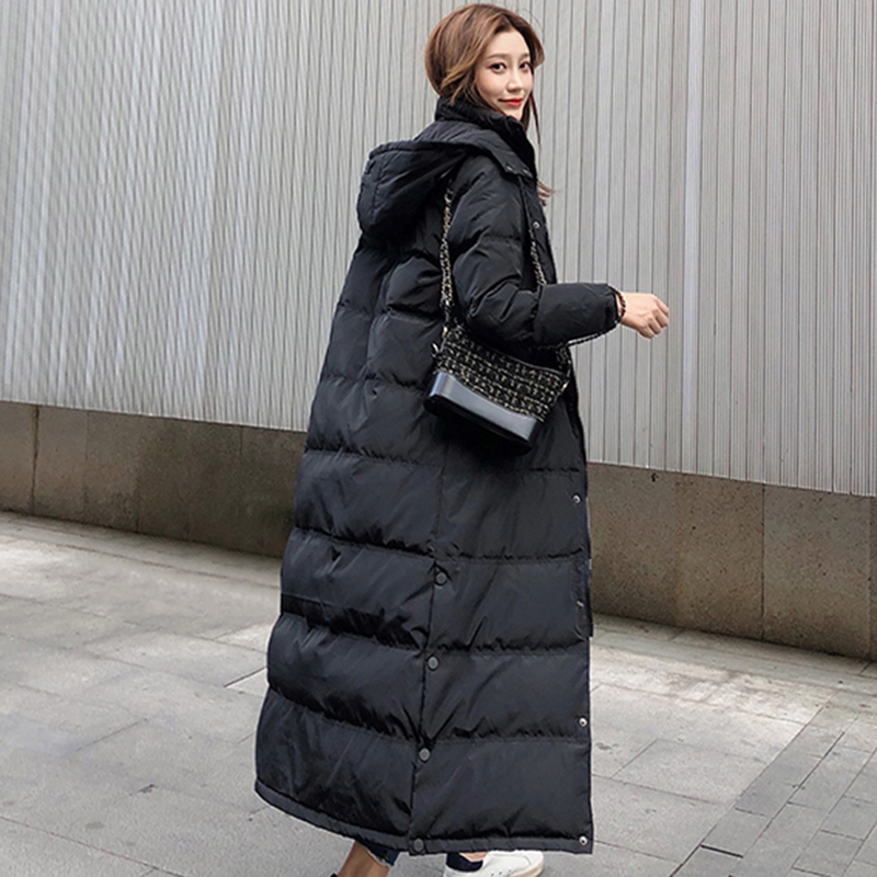 Korean Winter Women's Warm Jacket   Coat   Winter Long Thick White Duck   Down   Jacket Woman Hooded and Parka Long Puffer Jacket