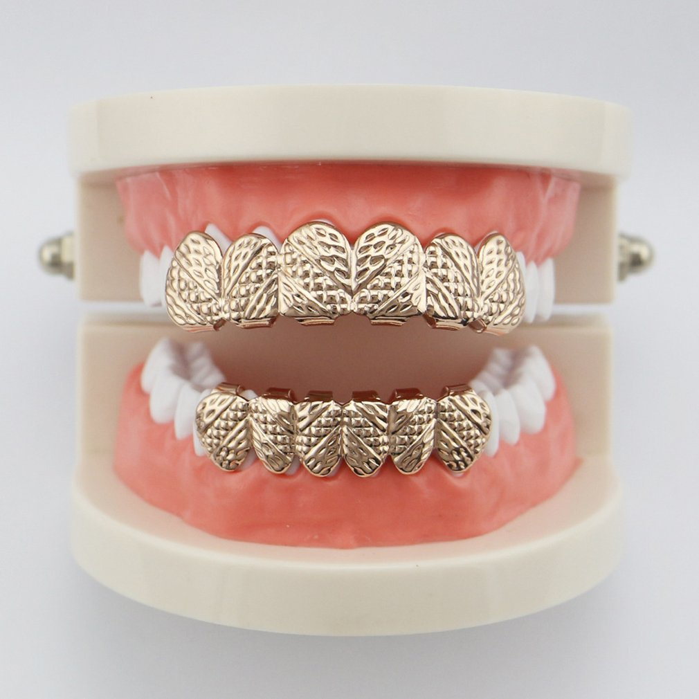 Hip Hop Rapper Teeth Dental Jewelry Custom Fit Gold European and American Electroplate Copper Top Bottom Party Jewelry 4 Colors image