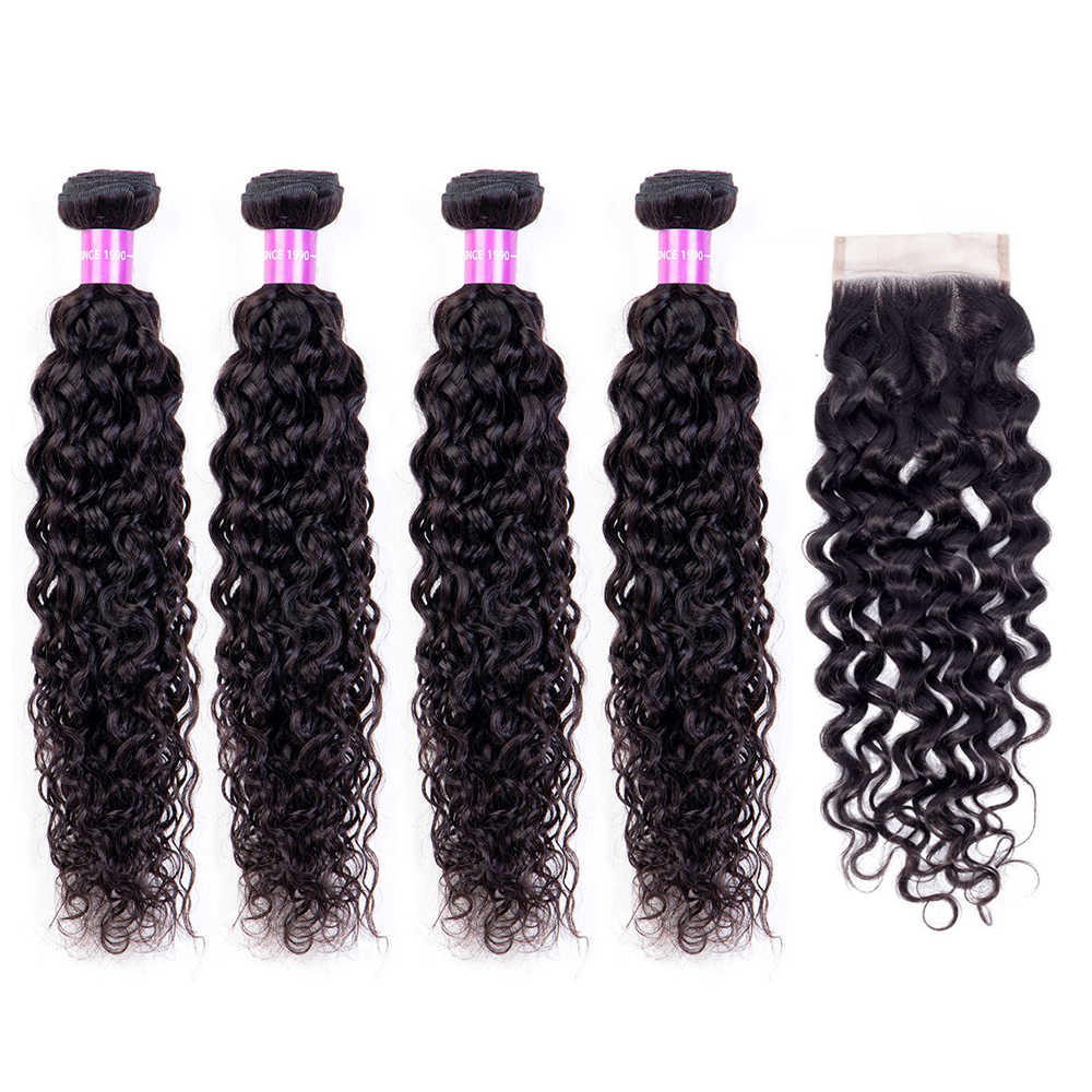Water Wave Bundles With Closure Brazilian Hair Weave Bundles With Closure Remy Human Hair 4 Bundles With Closure