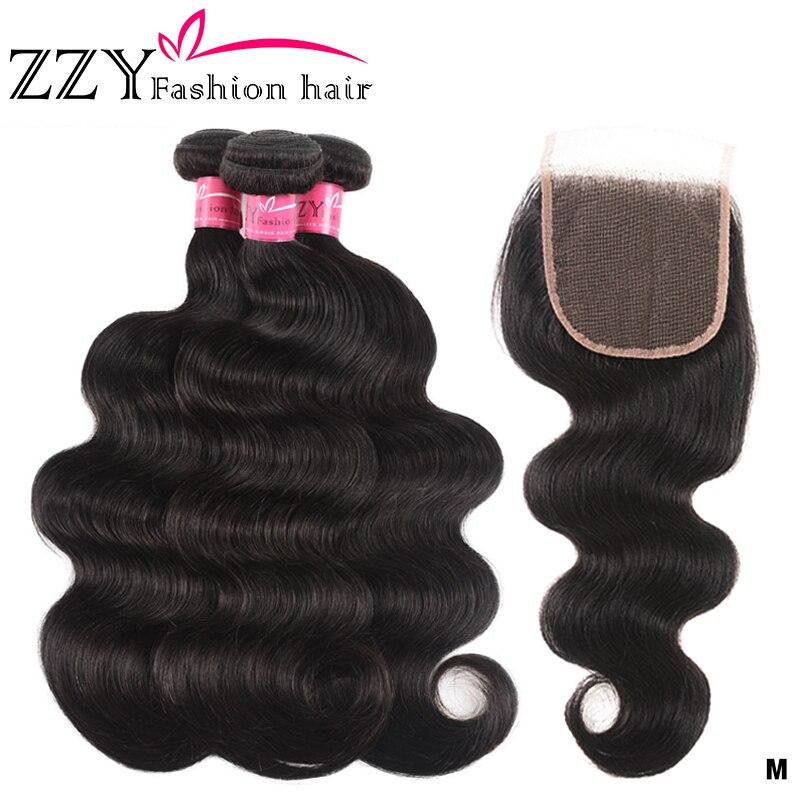 ZZY Brazilian Hair Weave Body Wave 3 Bundles With Closure Human Hair Bundles With Lace Closure Non-remy Human Hair Extensions