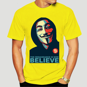 Men T shirt Classic Renaissance V For Vendetta Believe Bitcoin funny t-shirt novelty tshirt women 2947K 1
