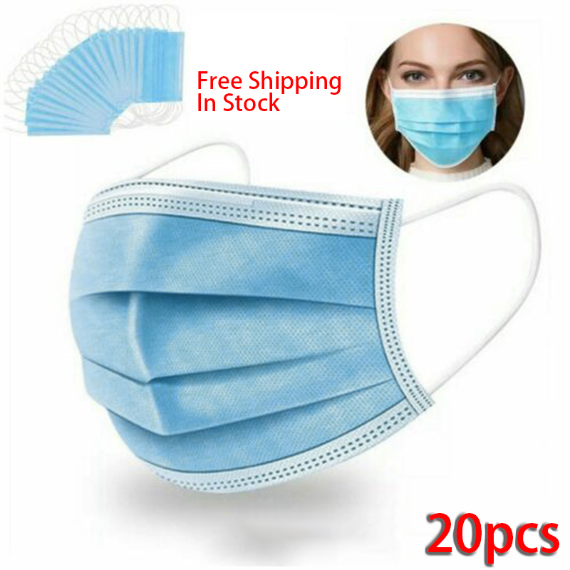 20 Pcs 3 Layers Thickened Disposable Mouth Protection Mouth Covers Non-Woven Anti-Dust Face Covers Protection Products