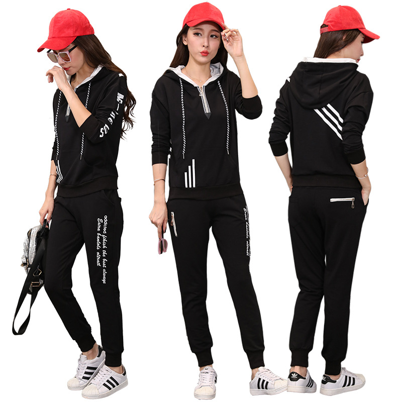 2019 Spring And Autumn New Style Korean-style Fashionable Leisure Sports Suit Pure Cotton Sports Clothing Hoodie Women's Two-Pie