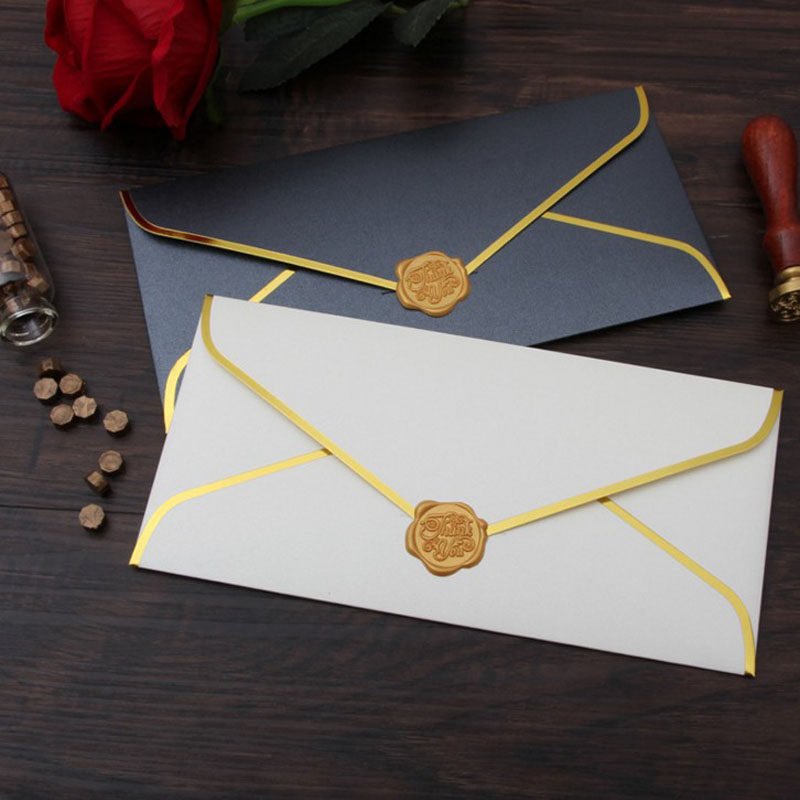 1 Pcs Hot Sale Retro European Business Pearlescent Paper Gold Stamping Envelopes Pearl Paper Wedding Invitation Envelopes