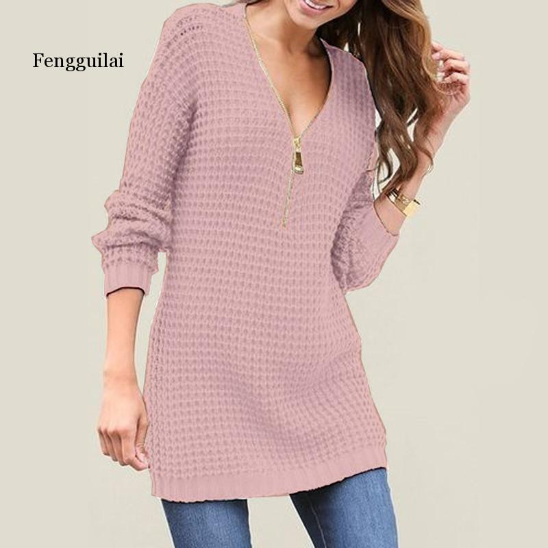 Women V-neck Long Pullover Sweater  Autumn Winter  New Solid Basic Knitted Sweater Female Fashion Casual Knitwear