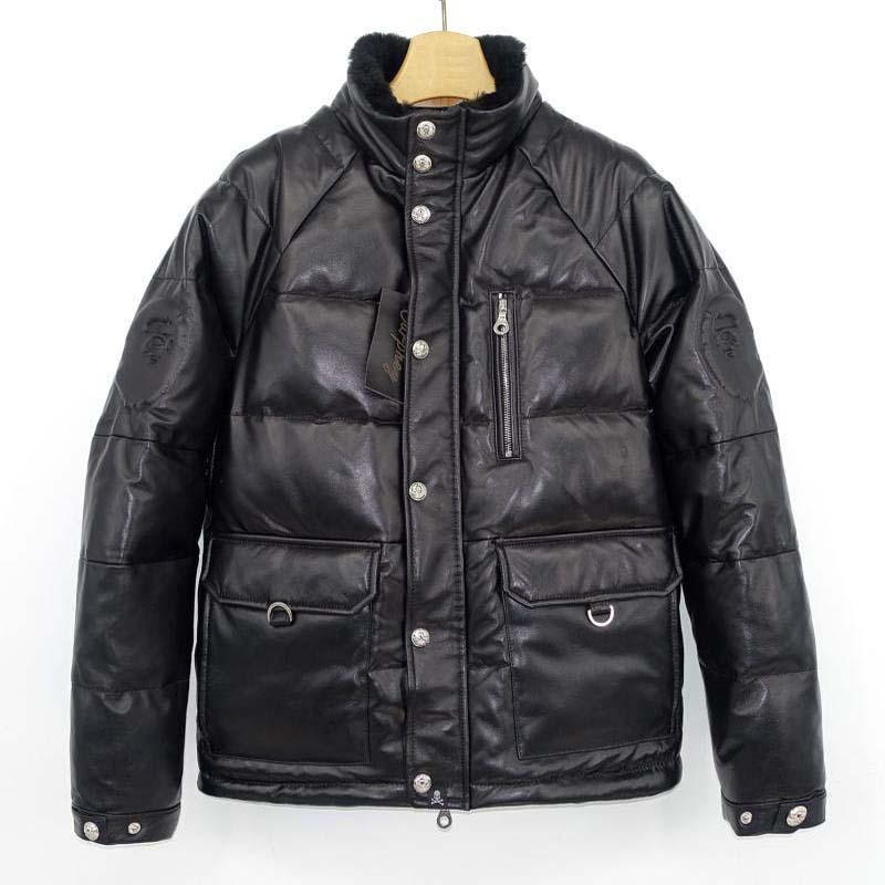 Nouveau 2019 hiver hommes véritable peau de mouton en cuir canard vers le bas manteau mâle chaud parkas veste vêtements noir grande taille xxxxl 3xl 4xl