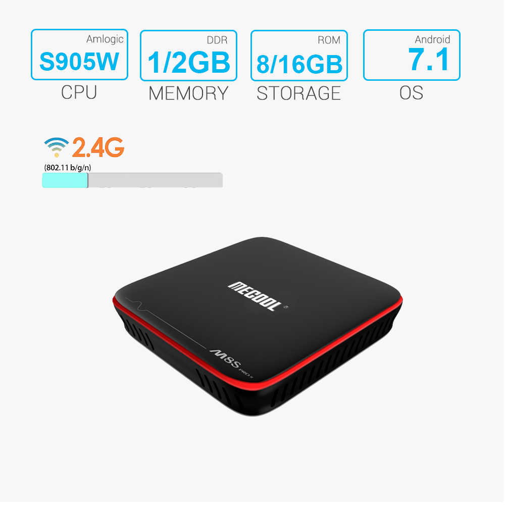 Mecool M8S Pro W Android TV Box 2G 16G Amlogic S905W Quad Core 100M Ethernet TV Box untuk Film Smart Set Top Box Media Player