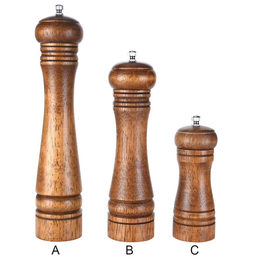 Rubberwood Manual Mill Salt Pepper Grinder Kitchen Restaurant Grinding Tool Spice Mill Ceramic Rotor cruet kitchen tool