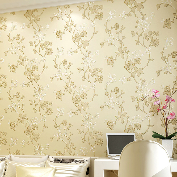 European Style Non-woven Wallpaper Simple Warm 3D Modern Bedroom Living Room Sofa Background Pastoral Style Wallpaper