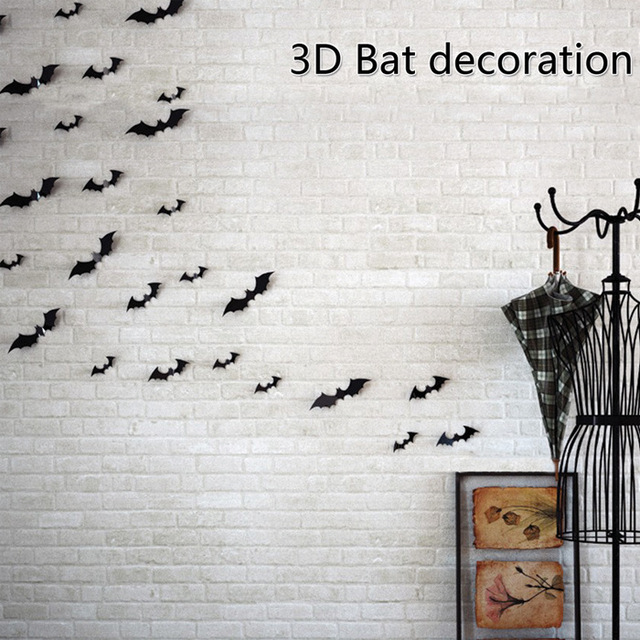 12 Pcs Creative 3D Bat Sticker Halloween Terror Atmosphere DIY Decorative Background Wall Sticker Simulation Animal Wallpaper