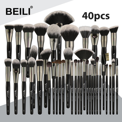 BEILI Black Professional 40 Pieces Makeup Brushes Set Soft Natural bristles powder Blending Eyebrow Fan Foundation make up brush