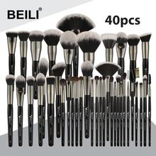 BEILI สีดำ Professional 40 ชิ้นชุดแปรงแต่งหน้านุ่มธรรมชาติขนแปรงผสมแป้งคิ้วพัดลม Foundation Make up Brush