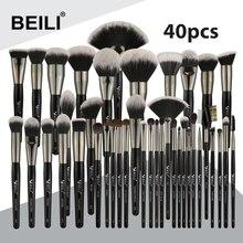 BEILI siyah profesyonel 40 adet makyaj fırçalar Set yumuşak doğal kıllar toz karıştırma kaş Fan vakıf makyaj fırça